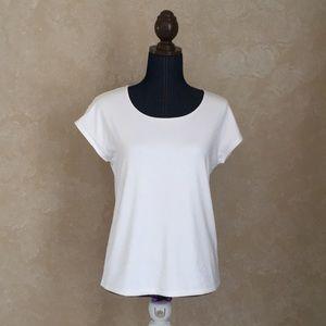 Talbots Petites womens white knit top soft stretch